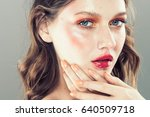 colorful make up woman face ... | Shutterstock . vector #640509718