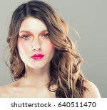colorful make up woman face ... | Shutterstock . vector #640511470