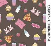 seamless pattern for sleepover... | Shutterstock .eps vector #640515538
