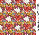floral wallpaper in orange and... | Shutterstock .eps vector #640516510