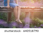 a woman sitting and relax on... | Shutterstock . vector #640518790
