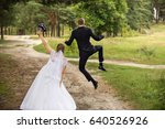 happy wedding couple  joyful... | Shutterstock . vector #640526926