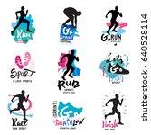 running  marathon  triathlon... | Shutterstock .eps vector #640528114