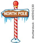north pole wooden sign vector... | Shutterstock .eps vector #640542130