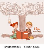 cute boy and girl reading a... | Shutterstock .eps vector #640545238