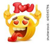 yellow smiley emoticon cartoon... | Shutterstock .eps vector #640545796