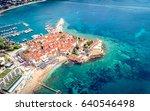 old town in budva in a... | Shutterstock . vector #640546498