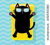 black cat floating on yellow... | Shutterstock .eps vector #640550380