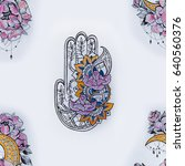 seamless pattern hamsa with... | Shutterstock . vector #640560376