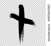 hand drawn cross. grunge cross. ... | Shutterstock .eps vector #640564360