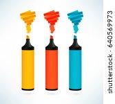 Multicolored Markers. Vector...