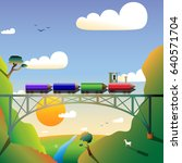 four pencils are like a train... | Shutterstock .eps vector #640571704