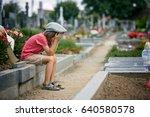 sad little boy  sitting on a... | Shutterstock . vector #640580578