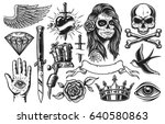 set of vintage black and white... | Shutterstock .eps vector #640580863