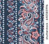 paisley floral oriental ethnic... | Shutterstock .eps vector #640585996