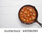 goulash traditional homemade...   Shutterstock . vector #640586584