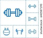 dumbbell icon. set of 6... | Shutterstock .eps vector #640587190