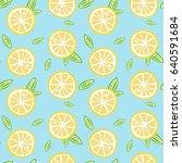 fruit lemon with green leaves... | Shutterstock . vector #640591684