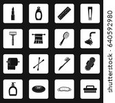 hygiene tools icons set in... | Shutterstock . vector #640592980