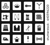sewing icons set in white...   Shutterstock . vector #640596220
