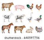 set of vector butchery logo.... | Shutterstock .eps vector #640597756