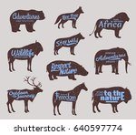 vector wild animals silhouettes.... | Shutterstock .eps vector #640597774