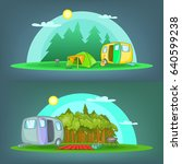 camping 2 horizontal banners... | Shutterstock . vector #640599238