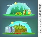 camping 2 horizontal banners...   Shutterstock . vector #640599238