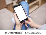 woman using phone with copy... | Shutterstock . vector #640601080