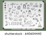 wedding icon set illustration... | Shutterstock .eps vector #640604440