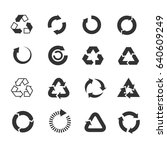 recycle icons set. triangle and ... | Shutterstock . vector #640609249