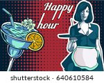 vintage waitress with a tray ... | Shutterstock .eps vector #640610584