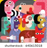 six women and dog   abstract... | Shutterstock . vector #640615018