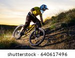 cyclist in yellow t shirt and... | Shutterstock . vector #640617496