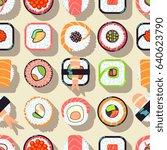 japanese food sushi seamless... | Shutterstock . vector #640623790