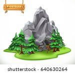 forest and mountain. camping ... | Shutterstock .eps vector #640630264