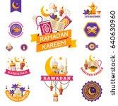 set of vintage ramadan kareem... | Shutterstock .eps vector #640630960