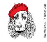 portrait of a spaniel dog in a... | Shutterstock .eps vector #640631200