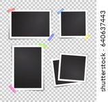isolated paper photo frames set.... | Shutterstock .eps vector #640637443