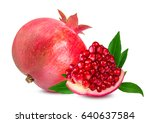 pomegranate isolated on white... | Shutterstock . vector #640637584