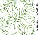 watercolor pattern with palm... | Shutterstock . vector #640642540