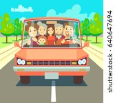 happy family traveling by car... | Shutterstock . vector #640647694