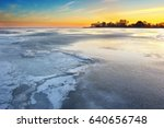 winter ice landscape. nature... | Shutterstock . vector #640656748