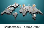 Stock vector highly detailed world map engraved on blue background with navigation markers symbols of basic 640658980