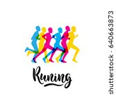 logo sports running event with... | Shutterstock .eps vector #640663873