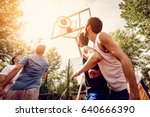 four basketball players have a... | Shutterstock . vector #640666390