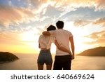 young happy couple in the beach ... | Shutterstock . vector #640669624