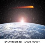 comet aproaches to the earth... | Shutterstock . vector #640670494