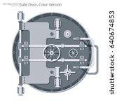 flat safe and vault door.... | Shutterstock .eps vector #640674853