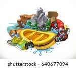 white water rafting. camping ... | Shutterstock .eps vector #640677094
